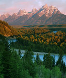 Grand Teton. View of Grand Teton from Snake River, Grand Teton National Park, Wyoming stock photography