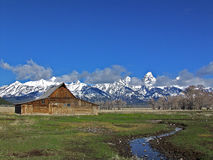 Grand Teton and barn Royalty Free Stock Photo