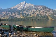 Grand Teton, boats on the lake shore. Grand Teton National Park, boats on the shore of Jenny Lake Royalty Free Stock Photography