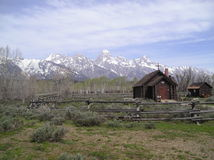 Grand Teton Chapel. Wonderful early spring view of the Teton Mountains with the Chapel of the Transfiguration in the foreground royalty free stock photography