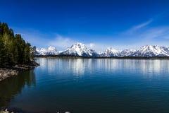 Grand Teton, Jackson Lake. Grand Teton`s Jackson Lake, Wyoming panorama in a sunny spring morning royalty free stock photography