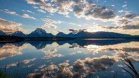 Grand Teton - Jackson lake mirror sunset stock footage