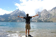 Grand Teton Jenny Lake grandeur Stock Photo