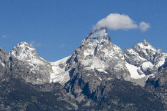 Grand Teton, Mount Owen and glaciers in the valleys Stock Images