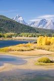 Grand Teton Mountain in Autumn. Autumn foliage in the Grand Teton mountain range stock images