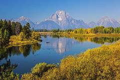 Grand Teton Mountain Range Oxbow Bend canoe Stock Photos
