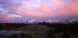 Grand Teton Mountains. A panoramic image of the Grand Teton Mountain Range stock photography