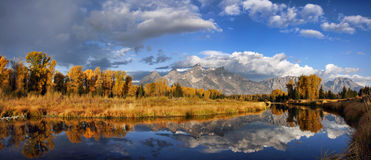 Grand Teton Mountains in Autumn with Reflections stock image