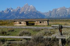 Grand Teton Mountains and cabin. A landscape of the Teton Mountains in Teton National Park  Wyoming USA and the Cunningham cabin in the foreground Stock Image