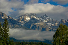 Grand Teton Mountains In The Clouds Royalty Free Stock Image