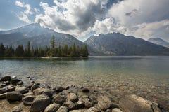 Grand Teton Mountains, clouds, at Jenny Lake, Jackson Hole, Wyom Stock Photo
