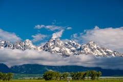 Grand Teton Mountains with low clouds. Grand Teton National Park, Wyoming, USA Royalty Free Stock Photo