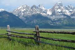 Grand Teton Mountains with low clouds Stock Photography