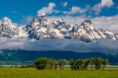 Grand Teton Mountains with low clouds. Grand Teton National Park, Wyoming, USA Stock Images
