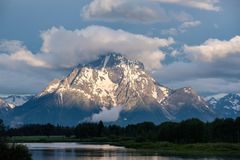 Mountains in Grand Teton National Park at morning. Oxbow Bend on the Snake River. Grand Teton Mountains from Oxbow Bend on the Snake River at morning. Grand Royalty Free Stock Images