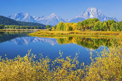 Grand Teton Mountains Oxbow Bend Wyoming USA. The Grand Teton Mountains and Oxbow Bend reflective calm water of the Snake River show off autumn golden colors Royalty Free Stock Photos