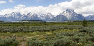 Grand Teton Mountains, River and Valley Royalty Free Stock Images