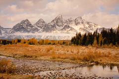 Grand Teton Mountains with Stream  Royalty Free Stock Photos