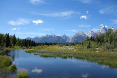 Grand Teton National Park. Mountain range and river in Grand Teton National Park, Wyoming Royalty Free Stock Images