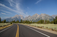 Grand Teton National park road Stock Photos