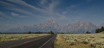 Grand Teton National park road Stock Images
