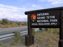Grand Teton National Park Sign Board Royalty Free Stock Photo