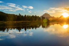 Grand Teton National Park Sunset Stock Photo