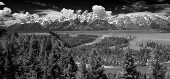 Grand Teton National Park - USA. The Grand Teton mountains guarded by the Snake River form an awe inspiring National Park in Wyoming Stock Photos