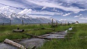 Grand teton mountains backdrop wyoming USA royalty free stock photos