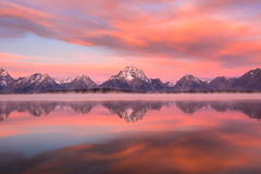 Grand Teton National Park, Wyoming, USA. Mt. Moran at dawn, Grand Teton National Park Royalty Free Stock Image