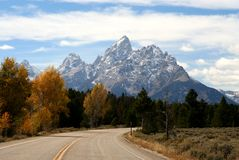 Grand Teton NP, Wyoming. View of the Grand Teton panorama Royalty Free Stock Photos