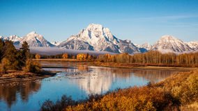 Grand Teton Oxbow Bend. Fog over the lake in the Grand Teton National Park, Wyoming, USA. Oxbow Bend stock photography