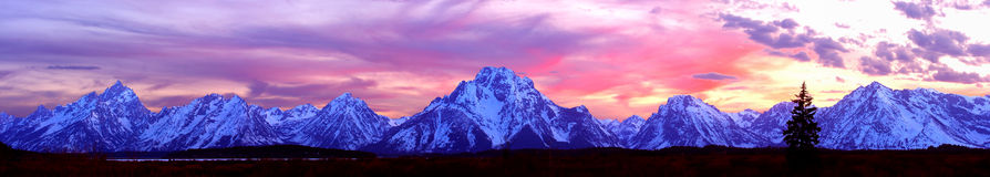 Grand Teton Panorama. Panorama of the Grand Tetons at Sunset