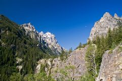 Grand Teton Park and the morning Moon Stock Photo