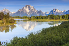 Grand Teton Peaks from the Snake River Royalty Free Stock Image