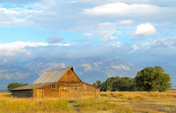 Grand Teton range and historic barn Royalty Free Stock Images