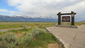 Grand Teton Sign at entrance to National Park Stock Photo