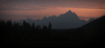 Grand Teton silhouette Royalty Free Stock Image