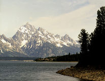 Grand Teton, Wyoming. Grand Teton mountain range with Jenny Lake in foreground Royalty Free Stock Photos