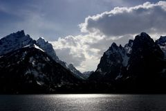 Grand tetons. The grand tetons, as seen from jenny lake Stock Photos