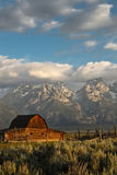Grand Tetons. Barn in the foreground of the Grand Tetons in wyoming Royalty Free Stock Photography