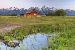 The Grand Tetons. Old barn shot near the Grand Teton National Park in Wyoming Royalty Free Stock Photography