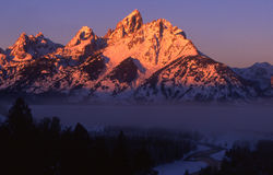 Grand Tetons. One majestic morning and Alpenglow on the Grand Teton mountains Royalty Free Stock Photos