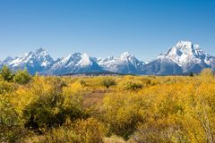 Grand Tetons In Autumn Landscape Stock Photo