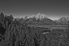Grand Tetons Black & White. A re-creation of the famous Ansel Adams image of the Grand Tetons, photographed in close proximity to the original position where royalty free stock photography