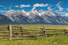 Grand Tetons and corral fence. Corral fence with the Grand Tetons in the background Stock Images