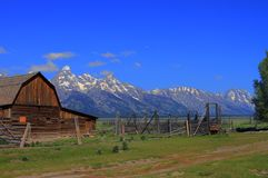 Grand Tetons from a farm Royalty Free Stock Images