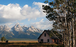 Grand Tetons and House Royalty Free Stock Photos