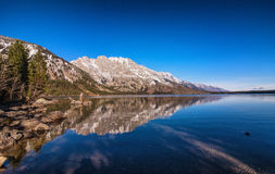 Grand Tetons from jenny lake. View of the grand Teton from the Jenny Lake royalty free stock photos