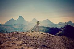 Grand Tetons man hiking Royalty Free Stock Image